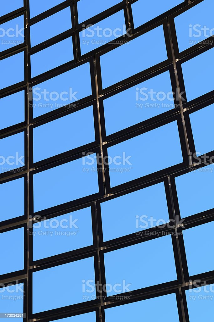 Wall full of blue TV screens royalty-free stock photo
