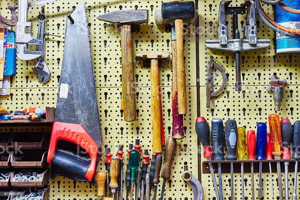 Wall full of tools stock photo