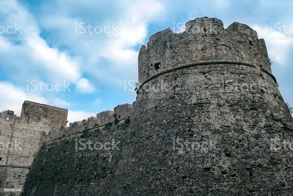 Wall historic center of Agropoli village, Italy stock photo