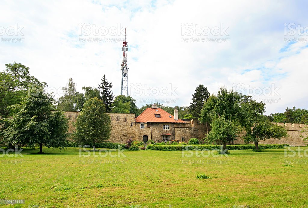 Wall hunger at Petrin lookout tower in Prague. stock photo