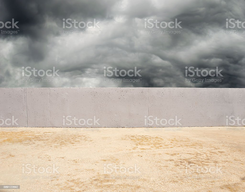 wall in a stormy day stock photo