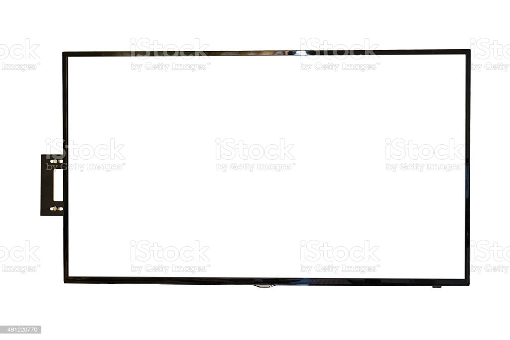 LED TV, wall installation, isolated on white background stock photo