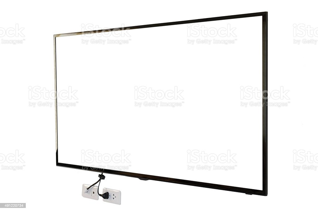 LED TV, wall installation with plug and outlet stock photo