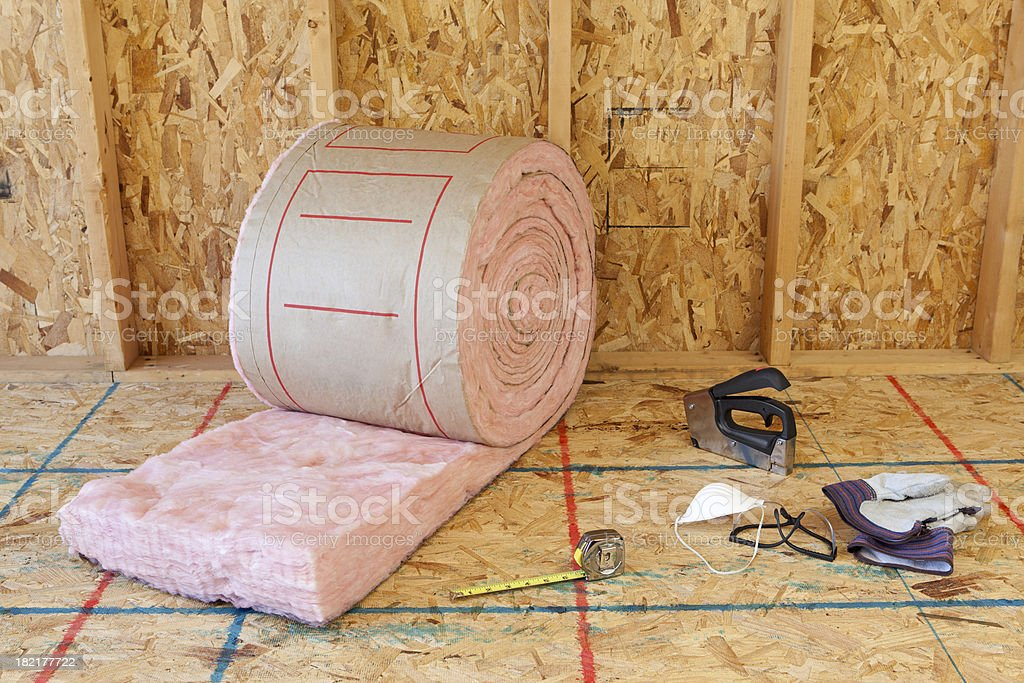 Wall Insulation and Tools stock photo