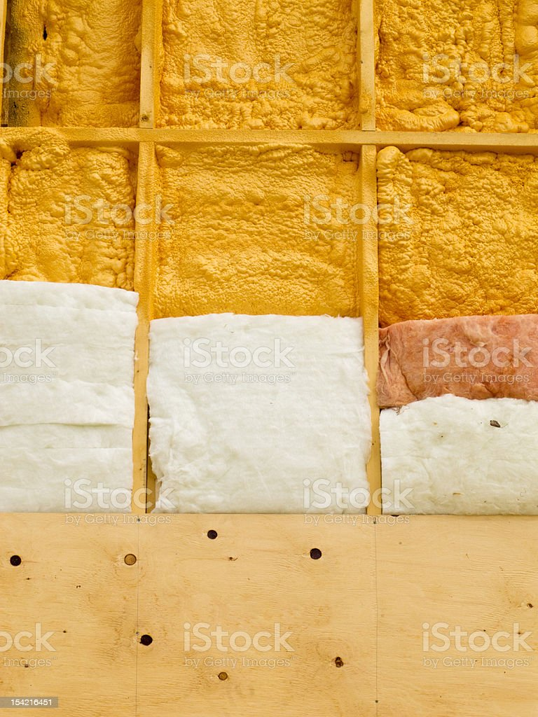 Wall insulation to save heating energy stock photo