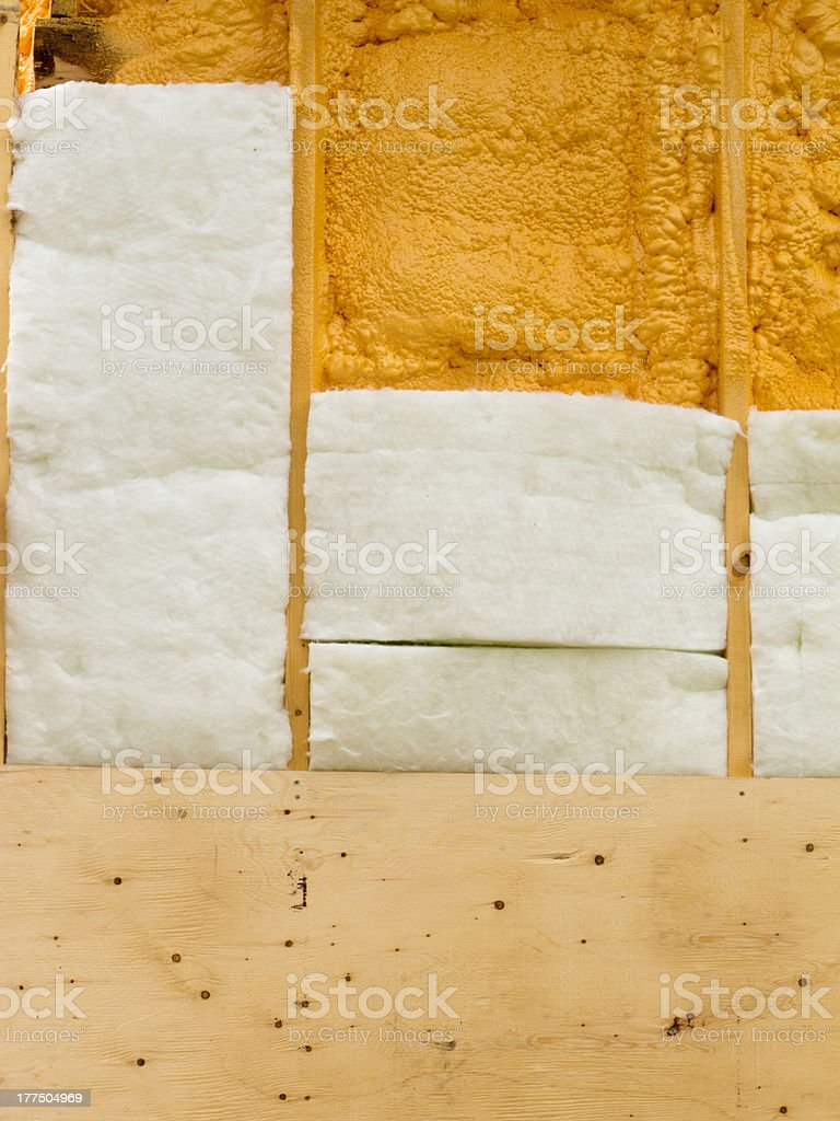Wall insulation to save heating energy royalty-free stock photo