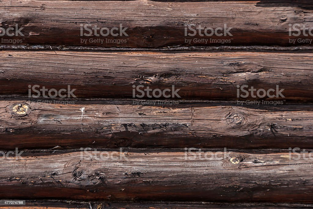 wall made of logs stock photo