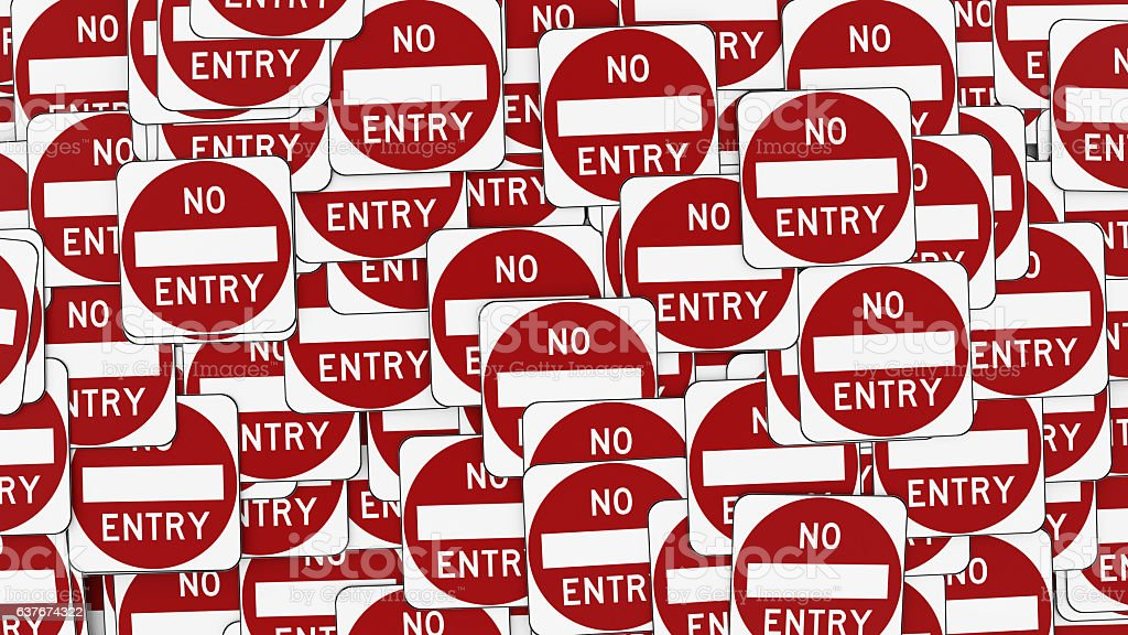 Wall Made of Red and White No Entry Signs stock photo