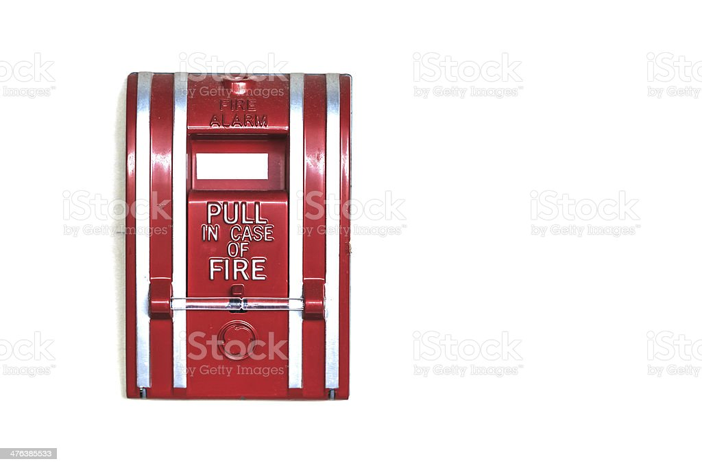 Wall Mounted Fire Alarm isolated on White Background, Closeup royalty-free stock photo