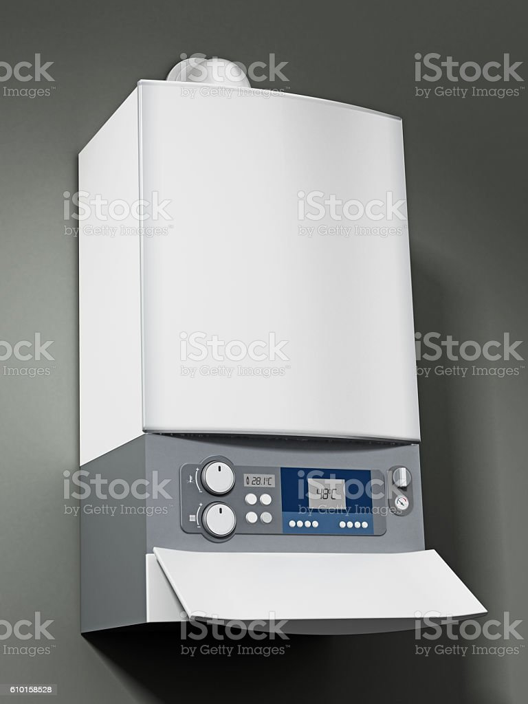 Wall mounted generic boiler stock photo