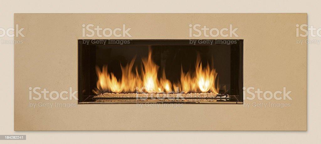 wall mounted modern gas fire stock photo