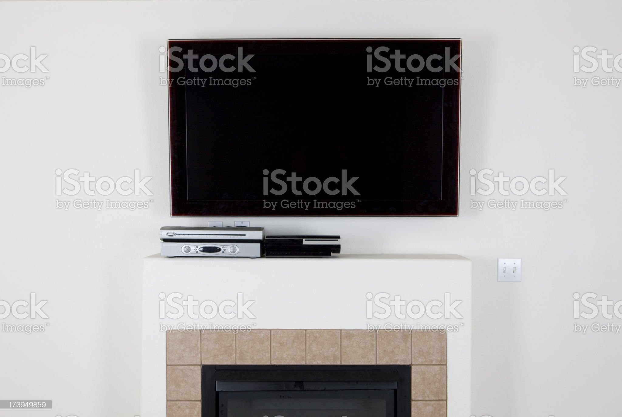Wall mounted television royalty-free stock photo