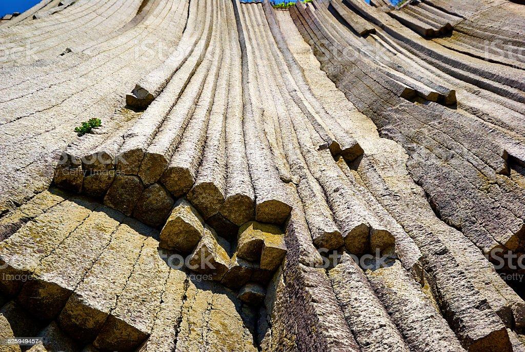 Wall natural column stones stock photo