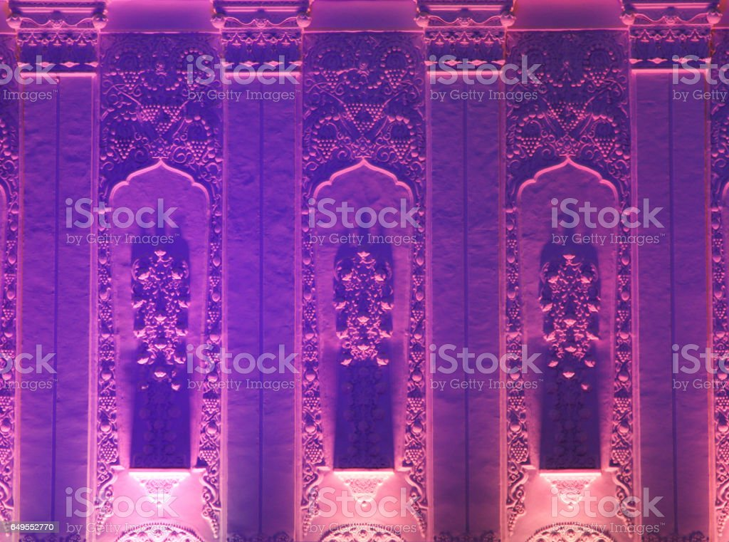 Wall of a building with beautiful lighting stock photo