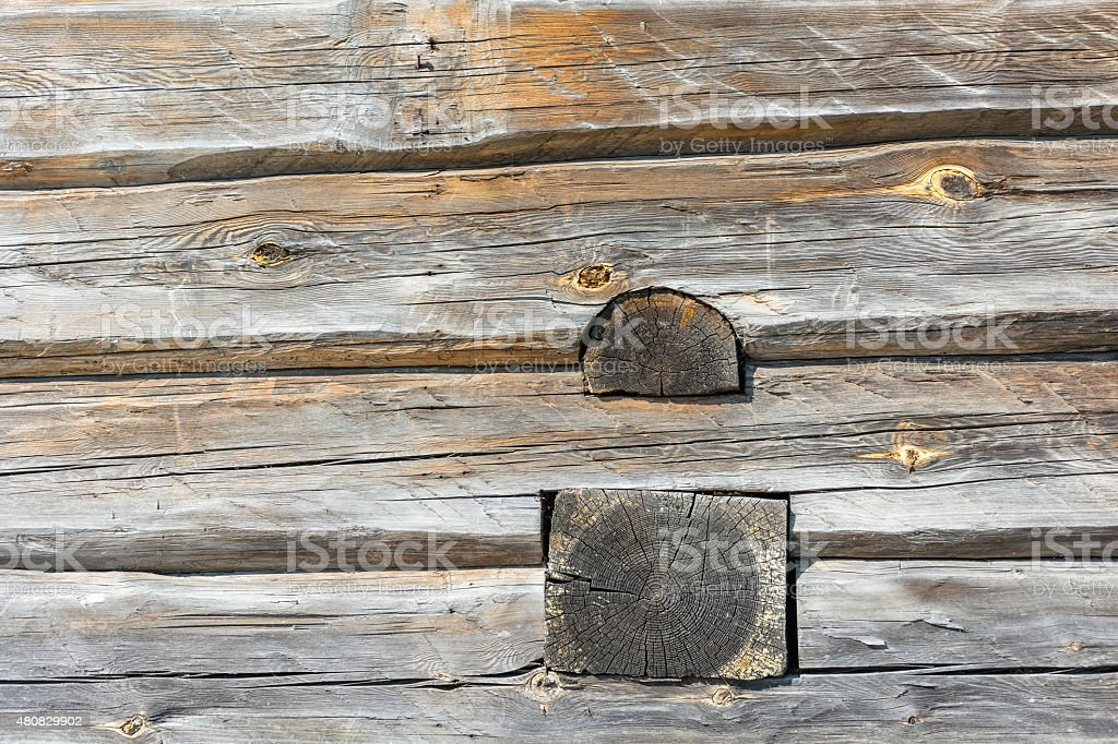 Wall of a log house. stock photo
