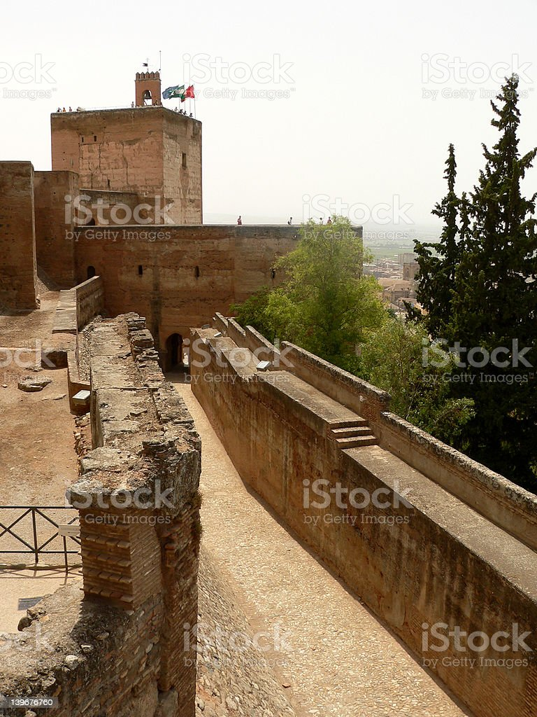 Wall of Alhambra stock photo