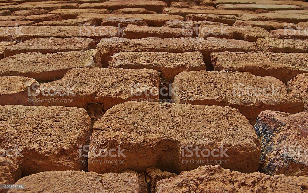 Wall of ancient bricks royalty-free stock photo