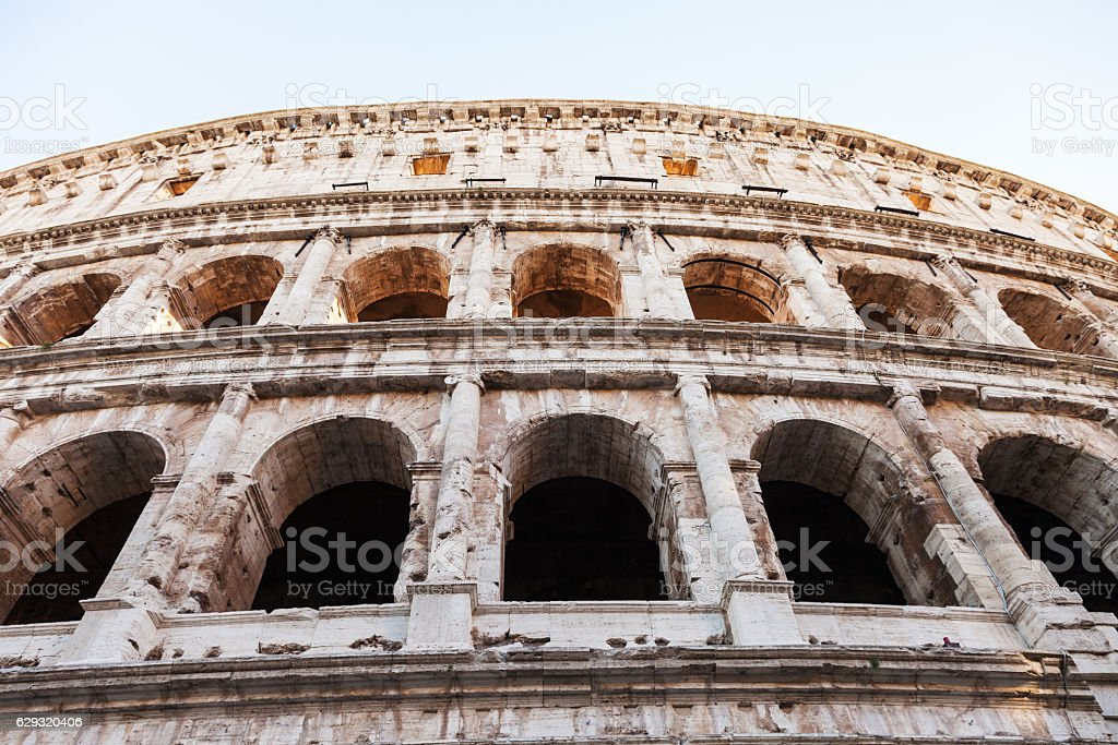 wall of ancient roman amphitheater Coliseum stock photo