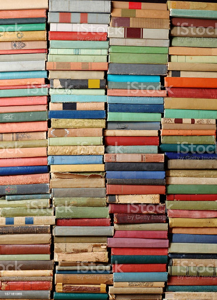 Wall of Antique Books stock photo