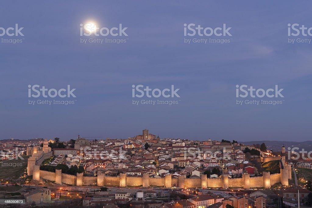 Wall of Avila, Spain. stock photo