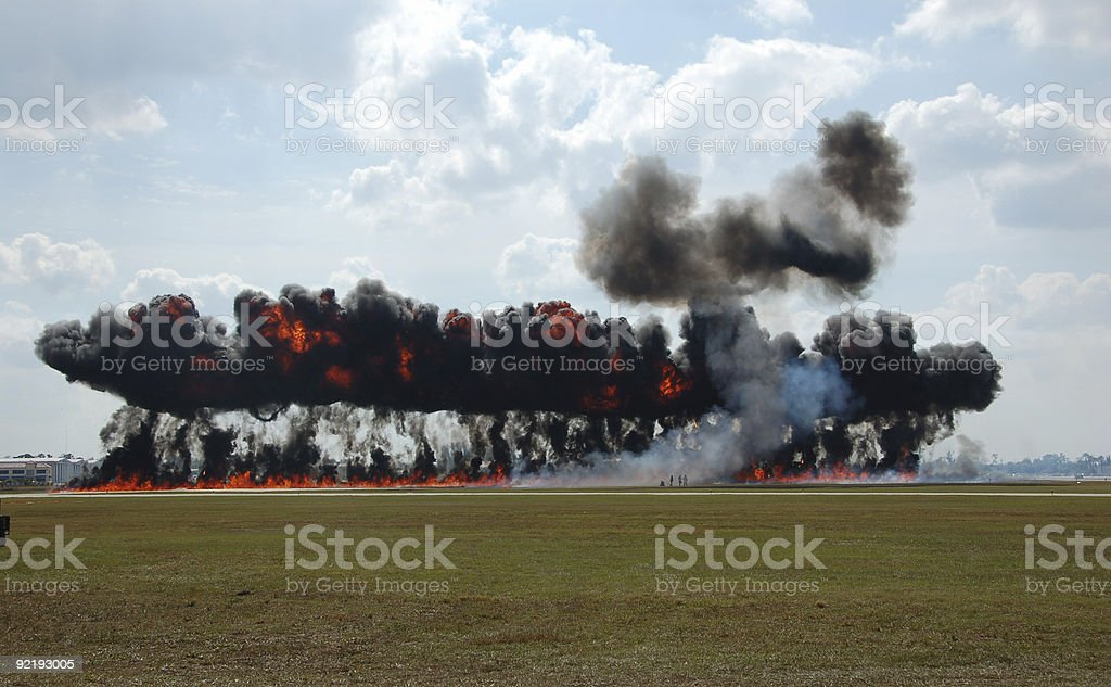 Wall of black smoke and fire stock photo
