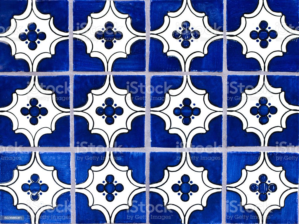 Wall of Blue Geometric Mexican Tiles stock photo
