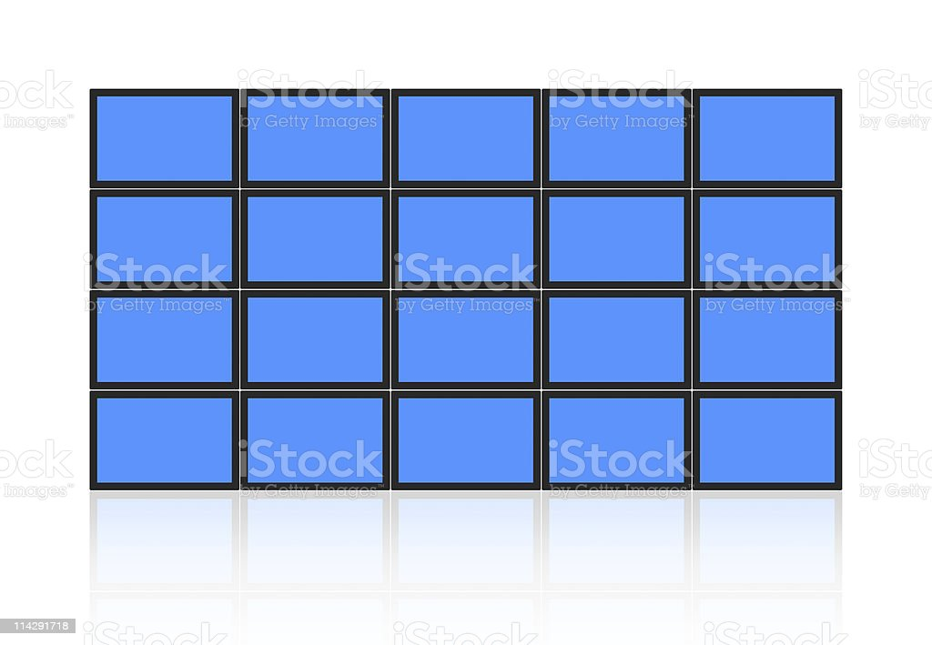 A wall of blue video screens on white stock photo