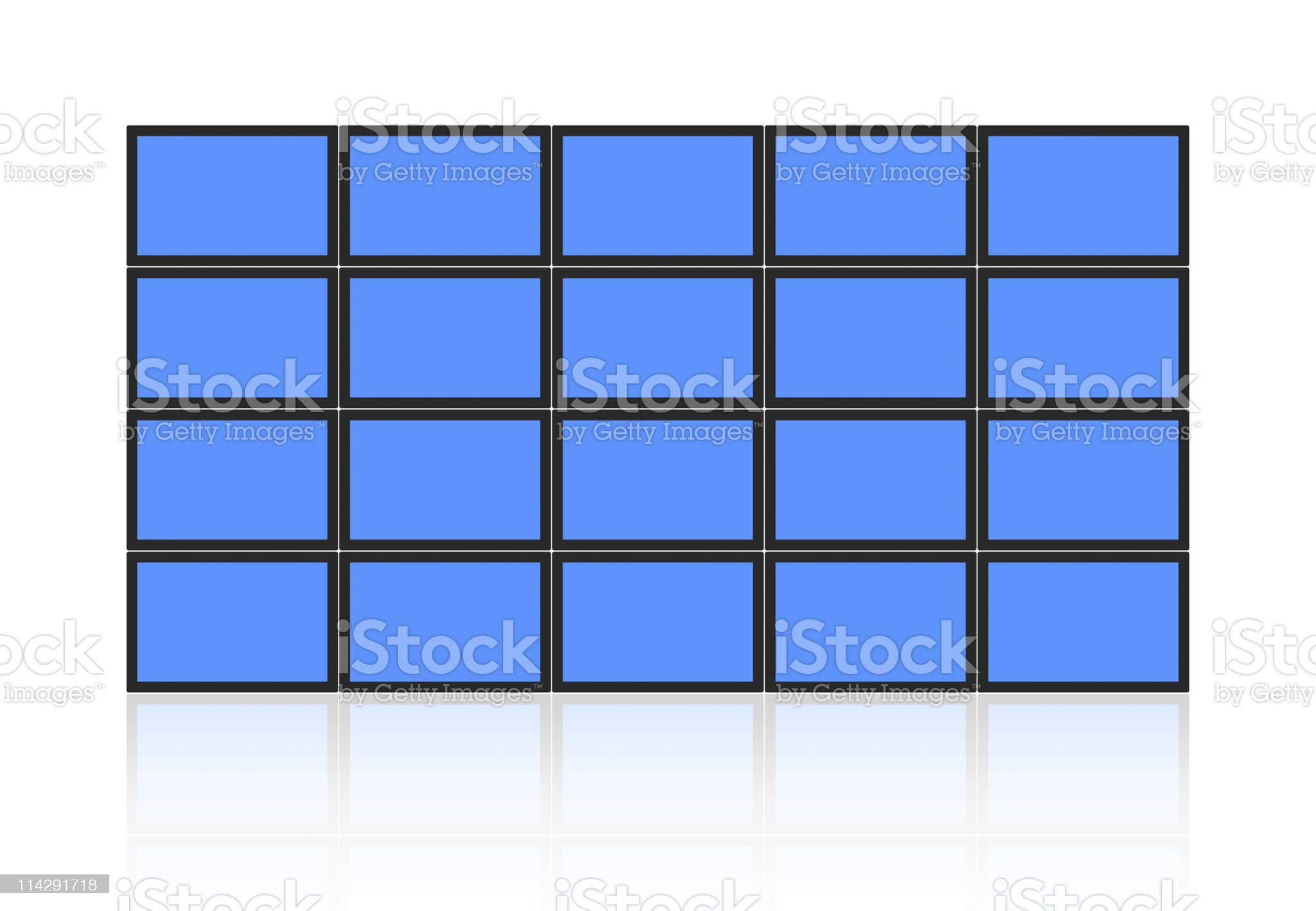 A wall of blue video screens on white royalty-free stock photo