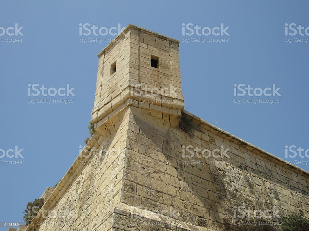 Wall of Camberley Fort, in Gozo, Malta stock photo