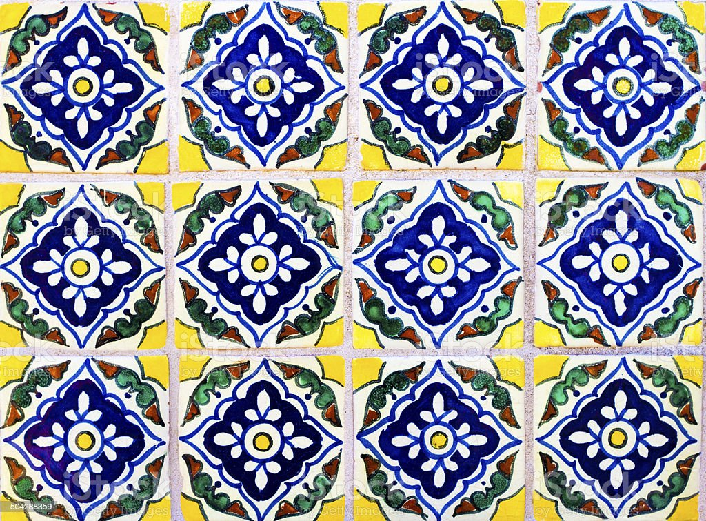Wall of Colorful Geometric Mexican Tiles stock photo