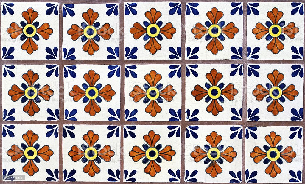 Wall of Colorful Geometric-Floral Mexican Tiles stock photo
