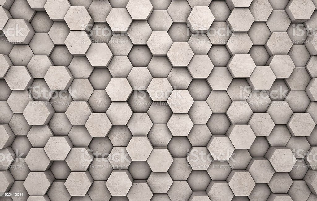 Wall of concrete hexagons stock photo