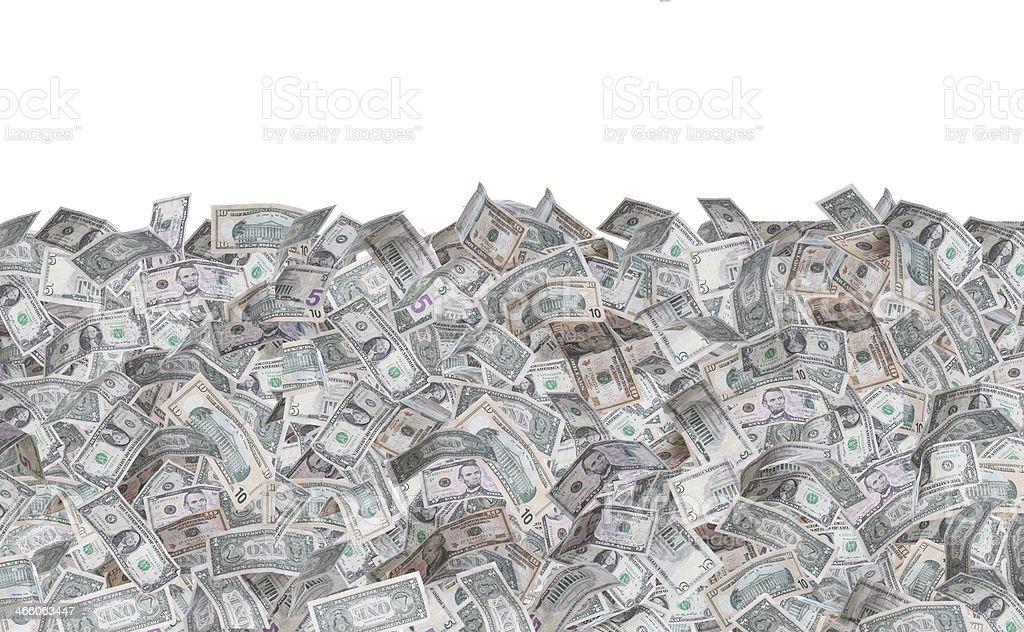 wall of dollar notes stock photo