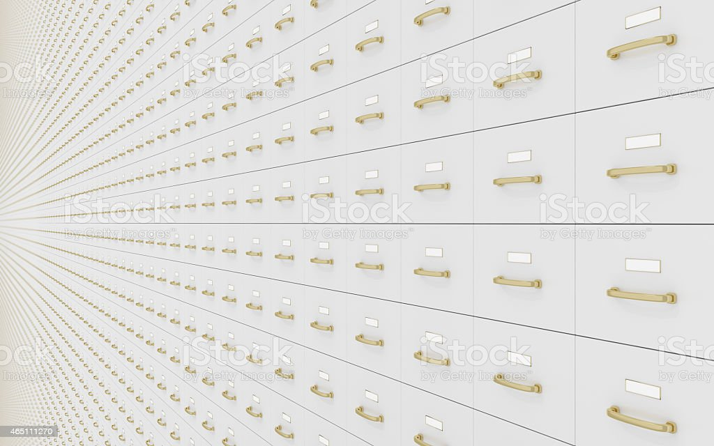 Wall of filing cabinets stock photo