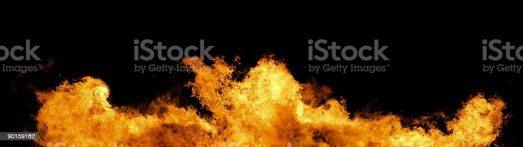 Wall of fire panorama royalty-free stock photo