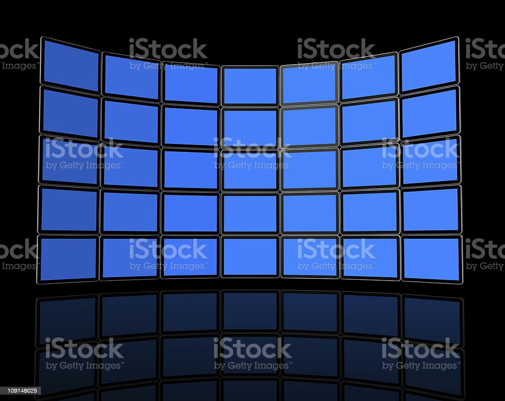 Wall of flat tv screens stock photo