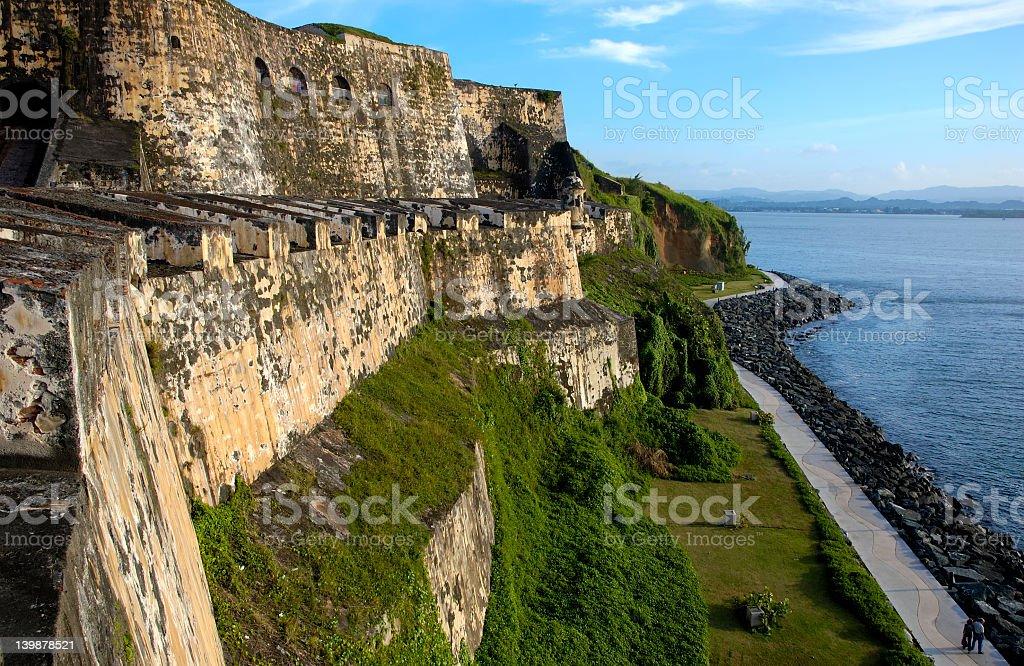 Wall of fortress El Morro in San Juan, Puerto Rico stock photo