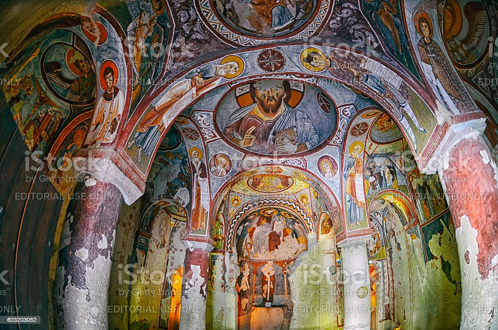 Wall of frescoes in the Apple Church stock photo