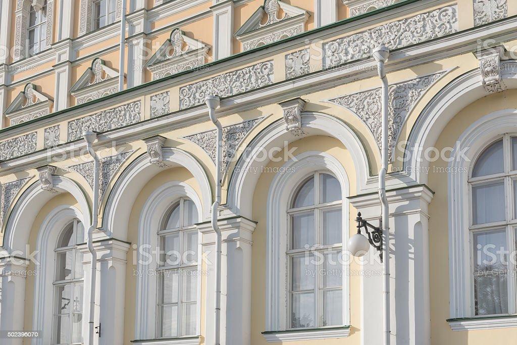 Wall of Grand Kremlin Palace stock photo