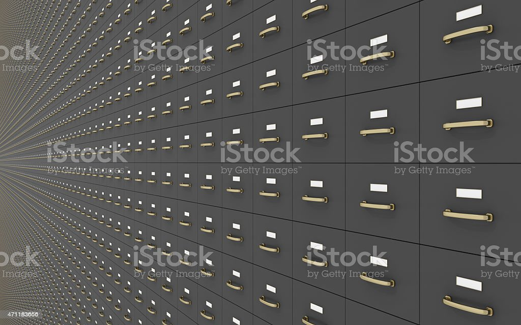 Wall of Gray Filing Cabinets stock photo