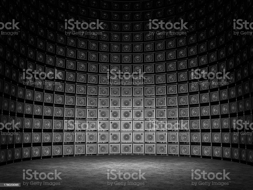 Wall of guitar amps stock photo