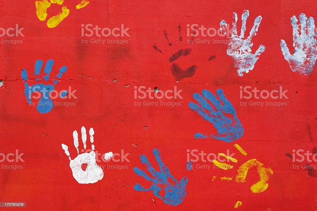 Wall of hands stock photo