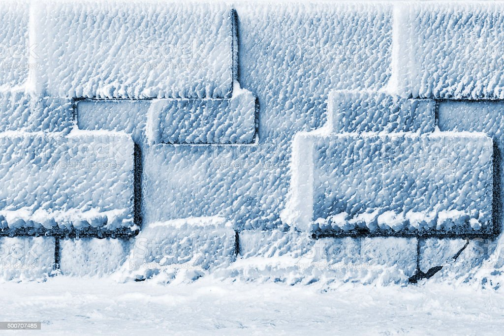 wall of ice cubes as texture or background stock photo