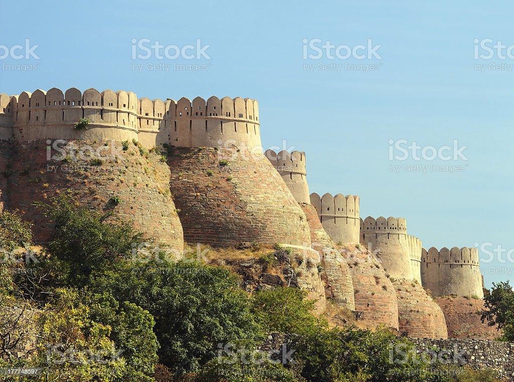 wall of kumbhalgarh fort stock photo