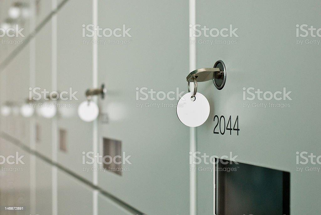 Wall of lockers. stock photo
