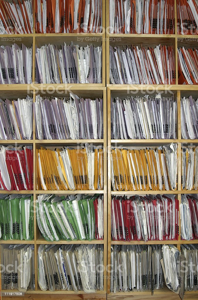 Wall of Office Files royalty-free stock photo