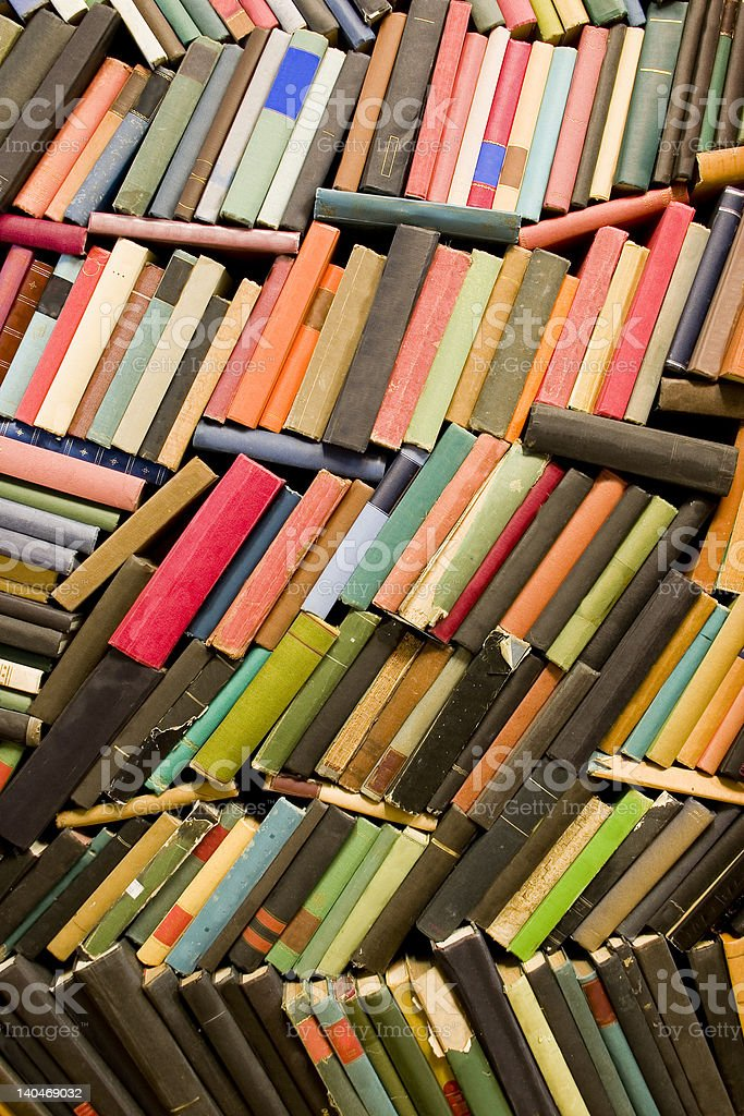 wall of old books royalty-free stock photo