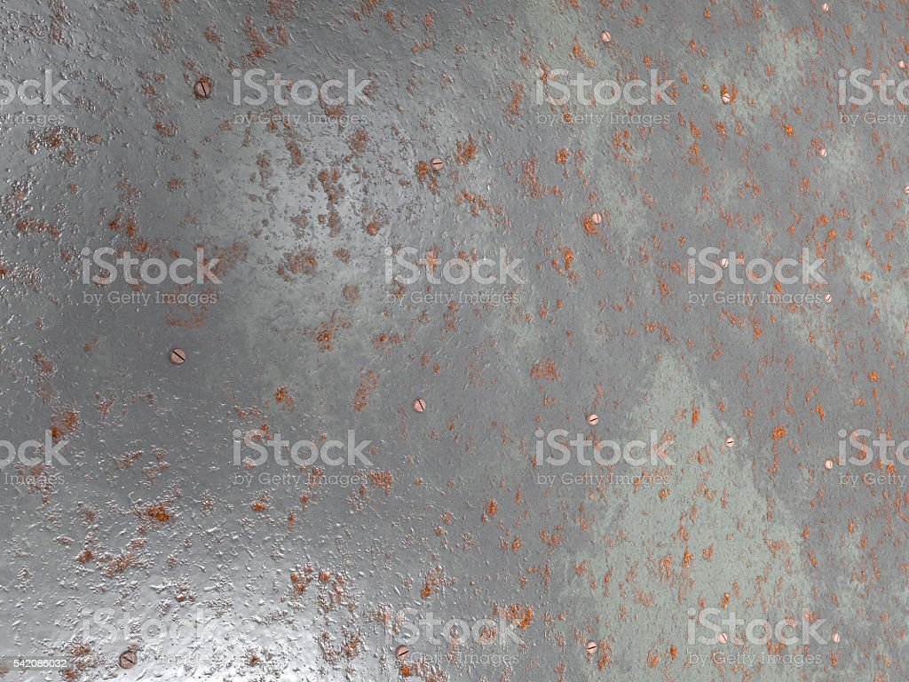 Wall of old metal plates with bolts stock photo