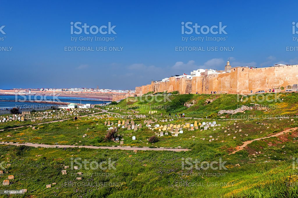 Wall of Oudaia Kasbah looking over harbour cemetery,Rabat ,Morocco stock photo