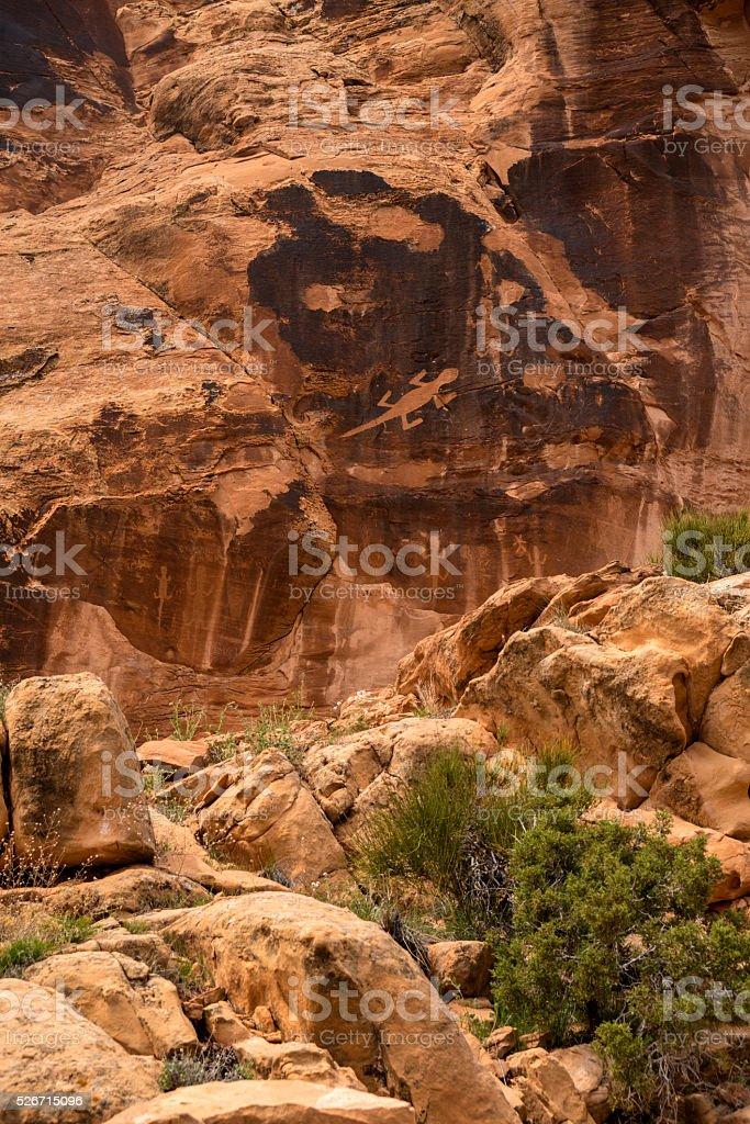 Wall of Petoglyphs in Dinosaur National Monument, Utah stock photo
